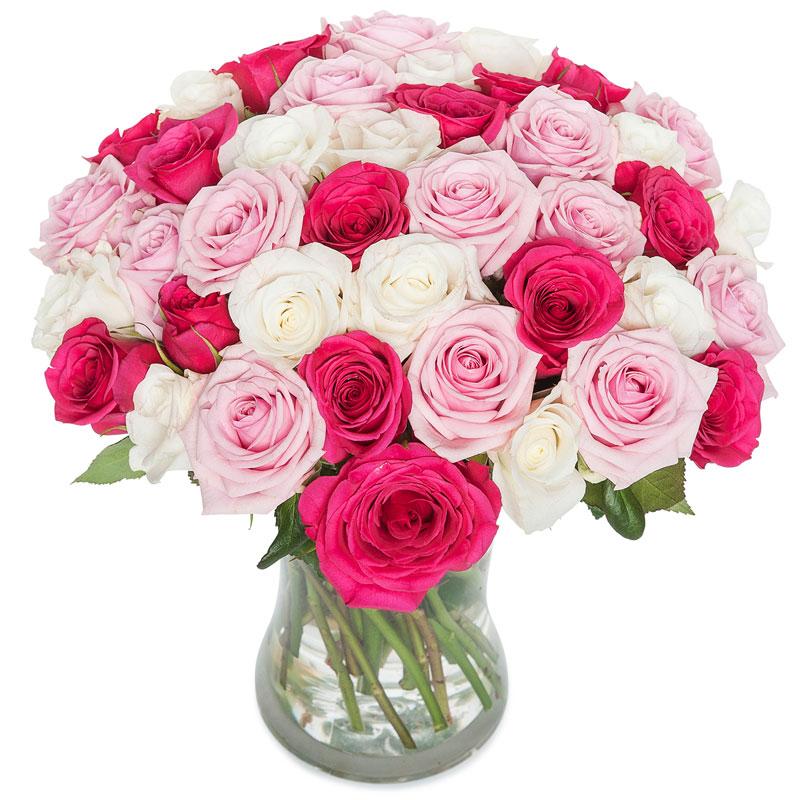 Mix van roze rozen