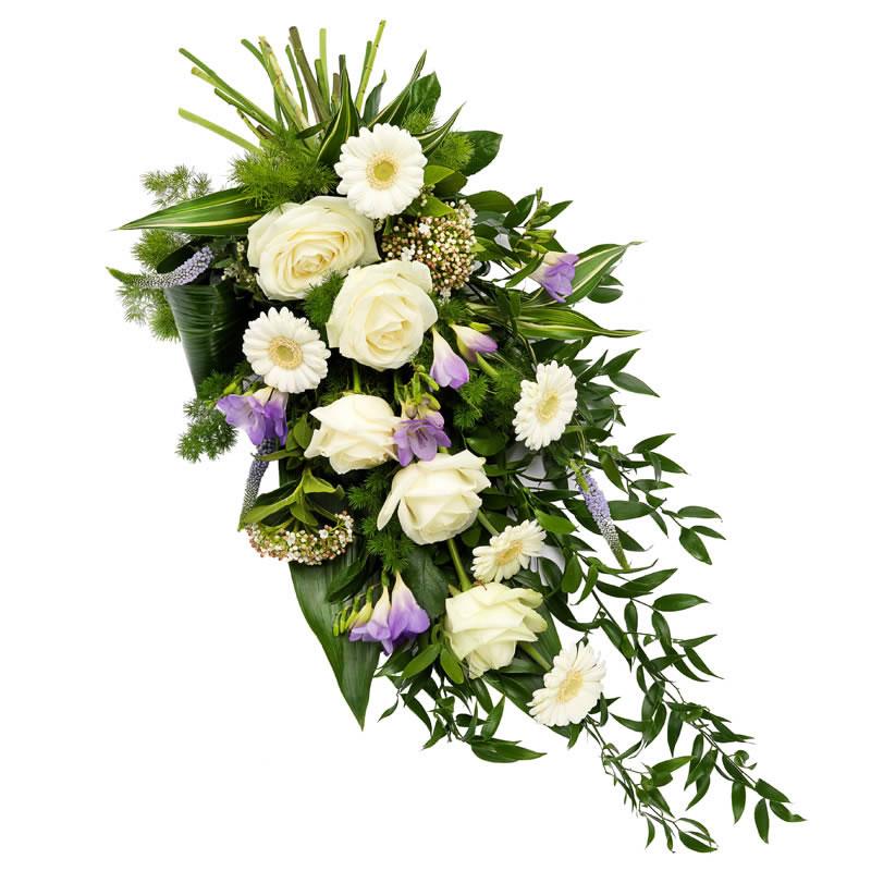 Luxe rouwsboeket wit en lila