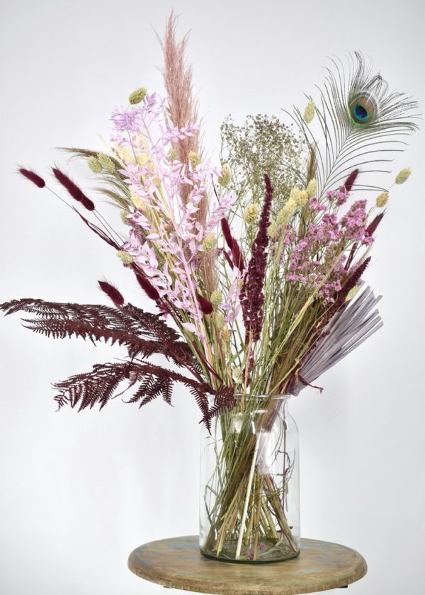 droogbloemen boeket roze