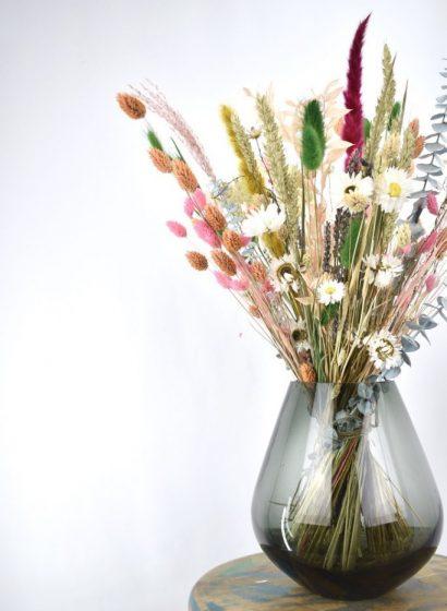 droogbloemen boeket met vaas
