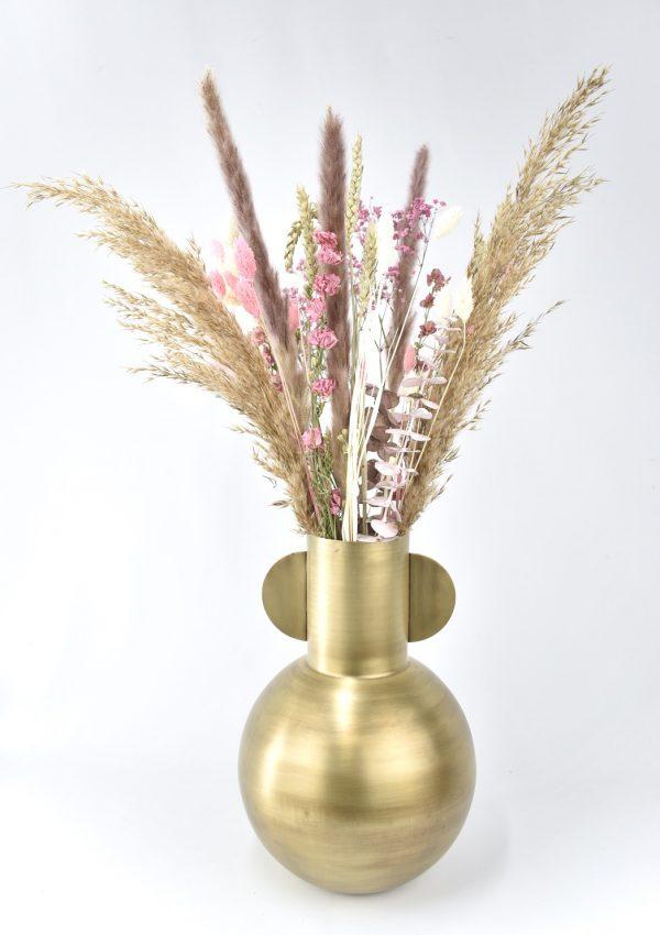 boeket droogbloemen met vaas