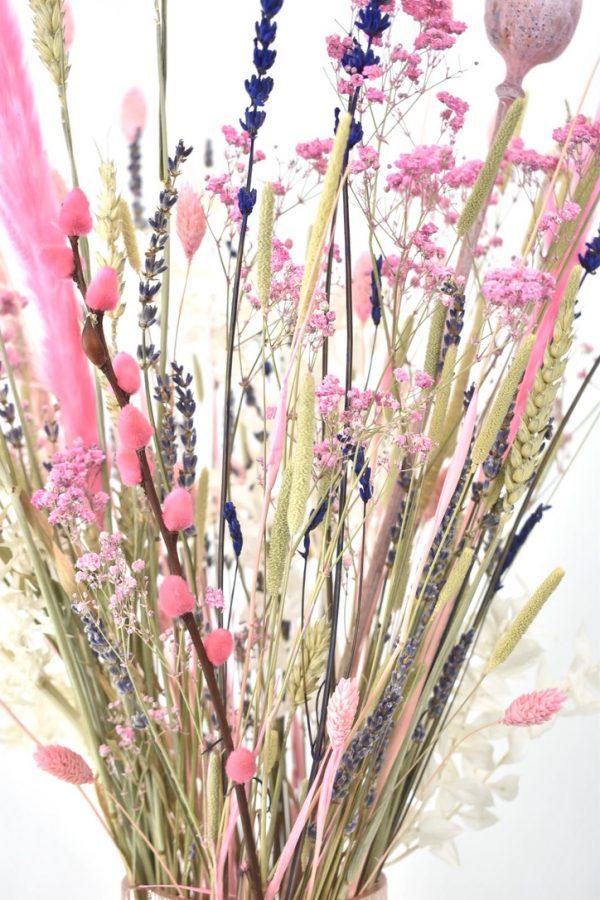 droogbloemen boeket met roze