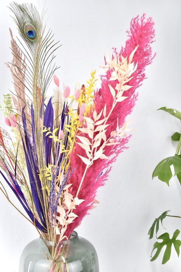 boeket met droogbloemen mix kleuren