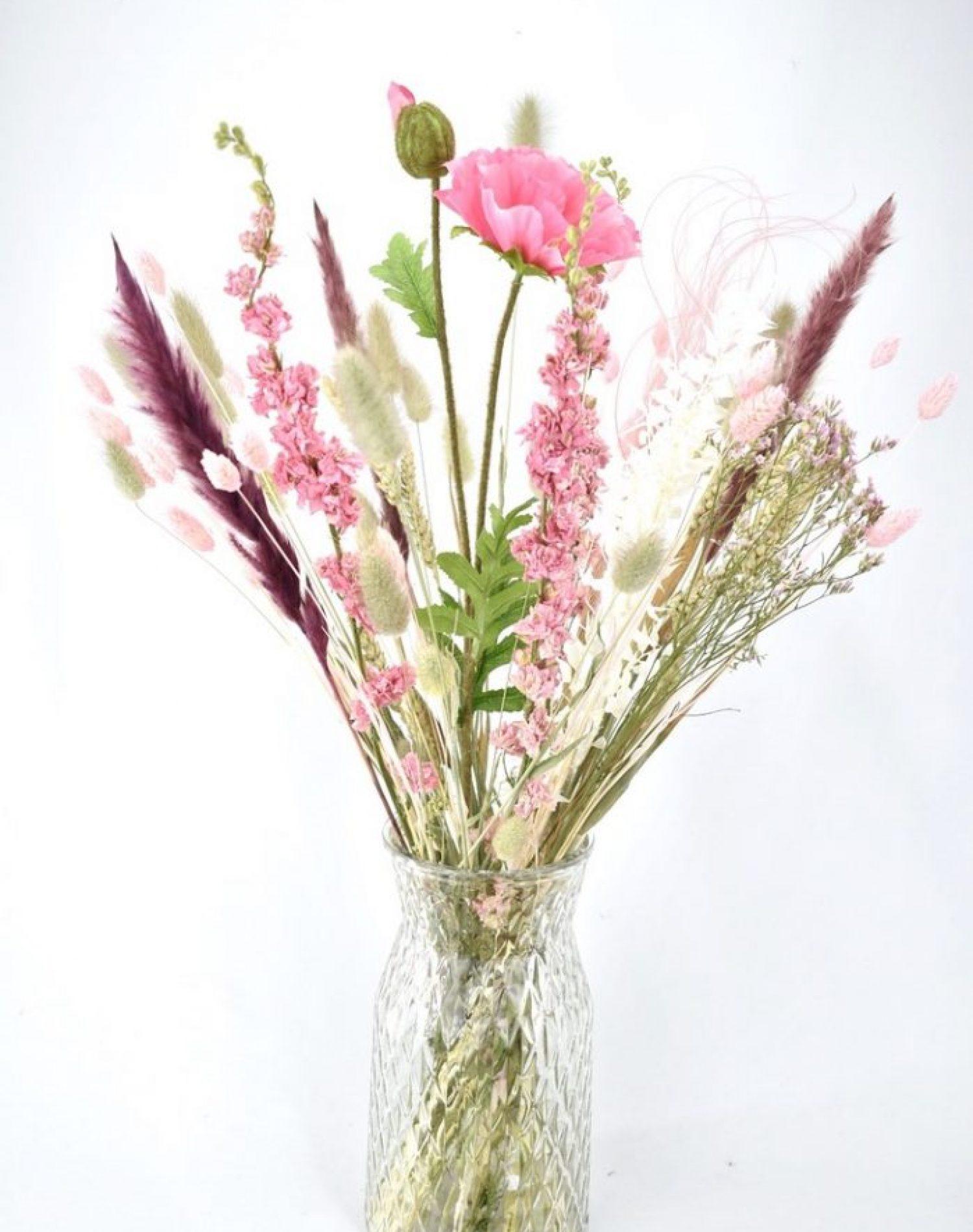 droogbloemen boeket met zijde