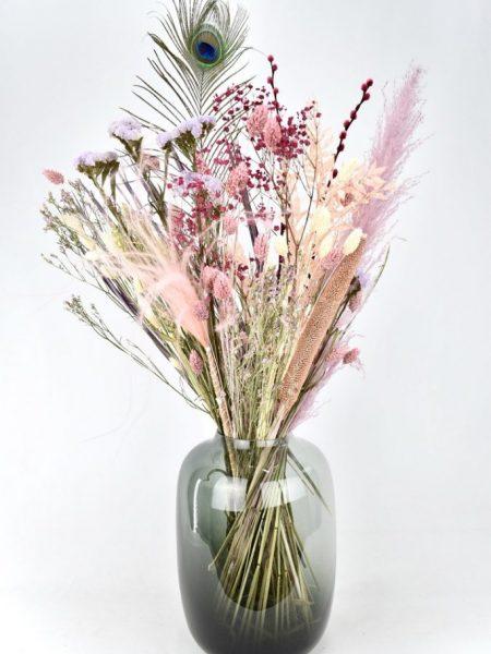 droogbloemen boeket met pastel kleuren