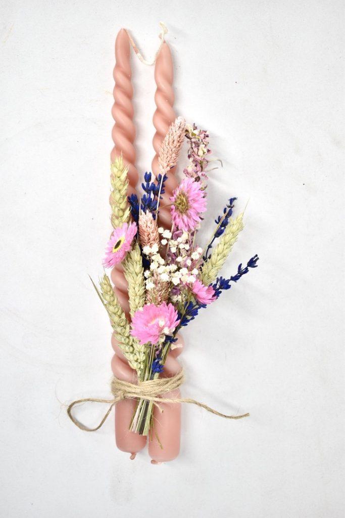 Swirl Kaars + droogbloemen