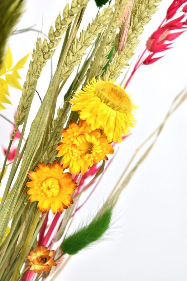 droogbloemen boeket met geel