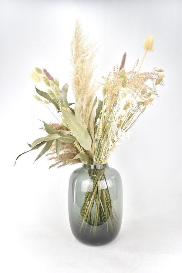 natuurtinten boeket droogbloemen bestellen met vaas